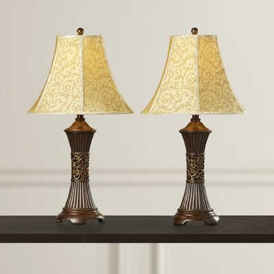 Alcott Hill Shawe 28.5'' H Table Lamp with Bell Shade Set of 2, Bronze and gold by Alcott Hill