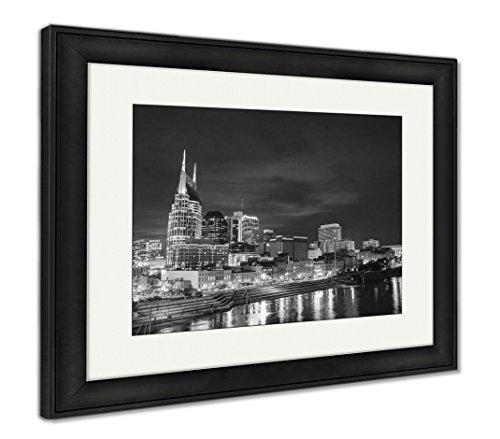 Ashley Framed Prints Downtown Nashville Tn, Wall Art Home Decoration, Black/White, 30x35 (Frame Size), Black Frame, AG5445094