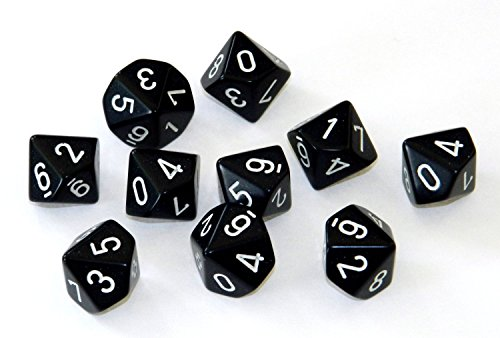 Chessex Dice Sets: Opaque Black with White - Ten Sided Die d10 Set (10) (Dice Side 10)