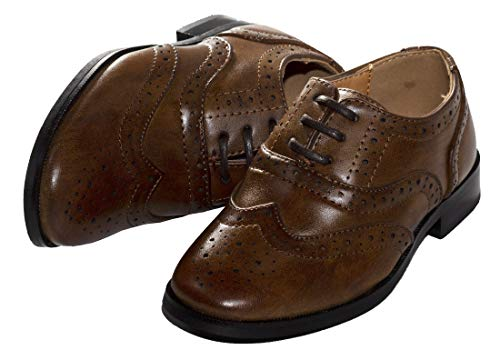 Boy Oxford Dress Shoes by Tip Top (Toddler/Little Kid/Big Kid) Brown]()