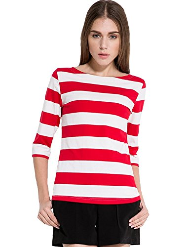 Camii Mia Women's 3/4 Sleeves Cotton Stripe T-Shirt (Medium, Red)