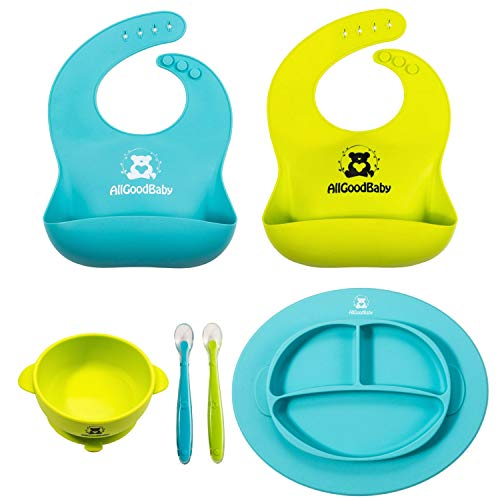 Baby & Toddler Feeding Set - 2 Pocket Food Catching Bibs, 2 Spoons, Placemat Suction Plate & Bowl | BPA Free Silicone | Safe for Children | Waterproof Spill Resistant ()