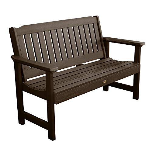 Highwood AD-BENW1-ACE Lehigh Garden Bench, 5 Feet, Weathered Acorn (Picnic Benches Recycled Plastic)