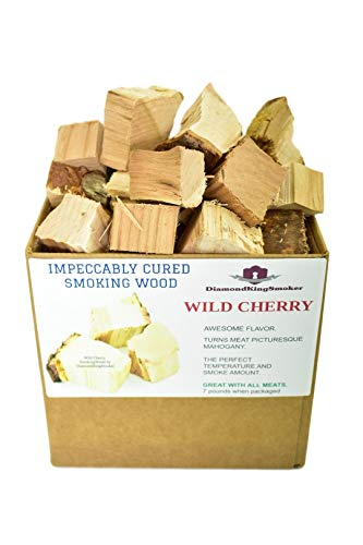 (DiamondKingSmoker Wild Cherry Smoking Wood Chunks 100% All Natural Barbecue Smoker Chunks for Grilling and BBQ | Large Cut Smoker Chips | Impeccably Cured for Premium Flavor Profile (7lbs))