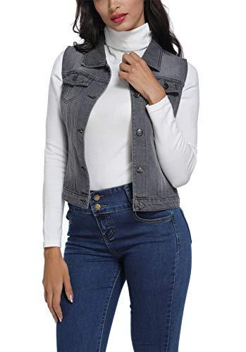 Sans Jeans Poches Moly Pour Miss Jean Court Manches Femme Décoratives Gris Avec Manteaux Lavés En Veste xTYnqgwaH