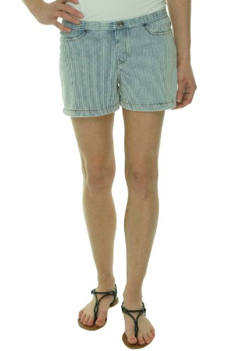 HUE The Original Jeans Shorts Stretch Pinstripe Cambray Blue (Small) by HUE
