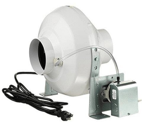 Vents-US Dryer Vent Booster Fan 6 inch w/ Power Cord and Pressure Switch 317 CFM VK 150 (Commercial Pressure Switch)