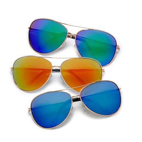 Premium Full Mirrored Aviator Sunglasses w/ Flash Mirror Lens (3 PACK GOLD/COLOR MIRROR, MIRROR) (Glass 3 Shades Teardrop)