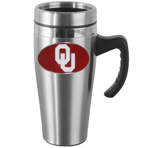 NCAA Oklahoma Sooners Steel Travel Mug with Handle Oklahoma Sooners Stainless Travel Mug