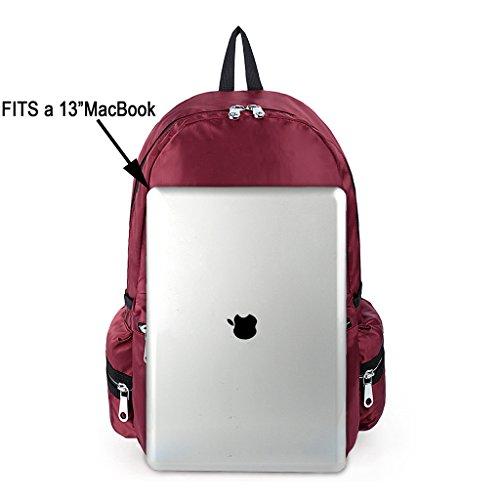 UTO mochila para laptop Oxford impermeable tela de nylon mochila unisex escuela College mochila bolso de viaje mochila para hombro negro rojo