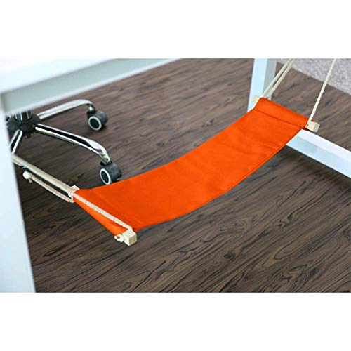ZSJZHB Footbed Hammock, Foot Hammock Lazy Artifact, Desk Break Swing, Portable Adjustable Office Pedals, Office Learning and Relaxation, Orange