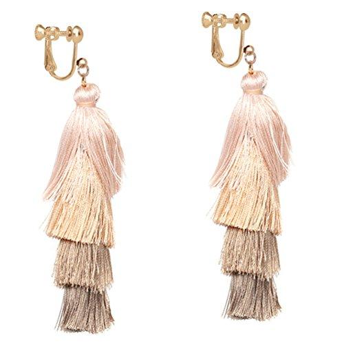 Colorful Layered Tassel Clip on Earring Bohemian Dangle Drop Tiered Long Thread Handmade Women Camel