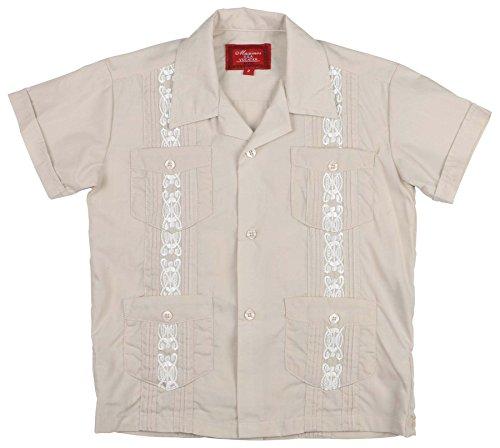 9 Crowns Essentials Boys' Guayabera Button Down Shirt (Beige, 4)