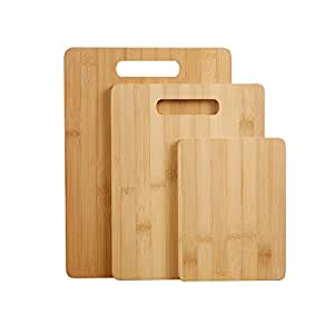 Gourmet Kitchen Chopping Board 3 Piece Natural 100% Bamboo Cutting Board Set (15.5x20cm, 22x28cm, 24x33cm) Anti-bacterial and Sustainable - 100% biodegradable - Perfect for any kitchen. Cut meat, veggies