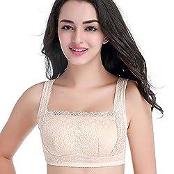 Tianshui Store Plus Size Lingerie Bra Bralette Women Minimizer Lace Top Wireless Everyday Cotton Full Cup Three Hooks