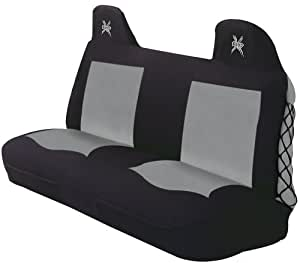 Elegant Universal X-Bound Front Bench Seat Cover - Polyester Fabric (Black/Grey)