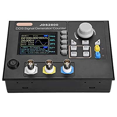 Signal Generator,JDS2800 AC100-240V 2.4inch TFT Color LCD Dual-Channel DDS Function Arbitrary Waveform Digital Signal Generator 266MSa/s Frequency Meter Pulse Source Generator with Software (60MHz)