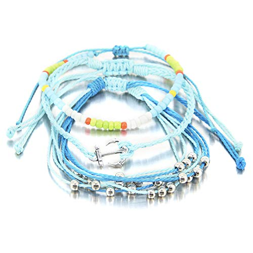 3 Pieces Anchor Navigate Bracelet Braided Rope Bracelet Waterproof String Ocean Surfer Bracelet Colorful Beaded Boho Charms for Women Girl