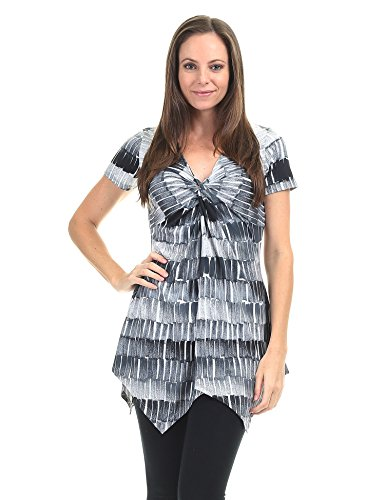 (Lock and Love LL WT1360 Print Short Sleeve Knot Front Baby Doll Tunic XXXL Black_Grey )