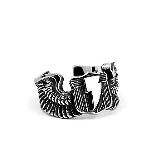 - ZMY Mens Fashion Jewelry Rings, Stainless Steel Lightning Wings Flying Tiger Ring for Men (7)