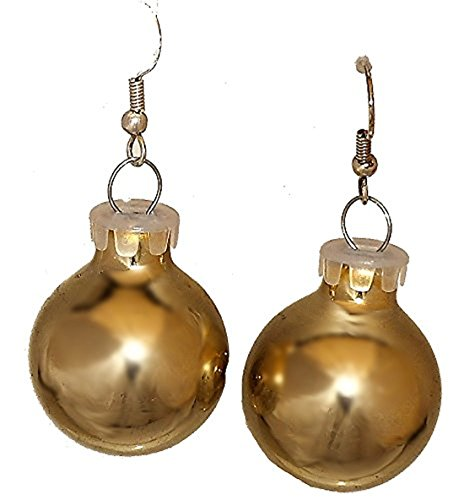 Goldtone Color Holiday Glass Ornament Ball Dangling ()