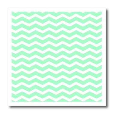 3dRose ht_56647_1 Mint Green and White Chevron Zig Zag Stripes Pattern Retro and Stylish-Iron on Heat Transfer for White Material, 8 by 8-Inch -