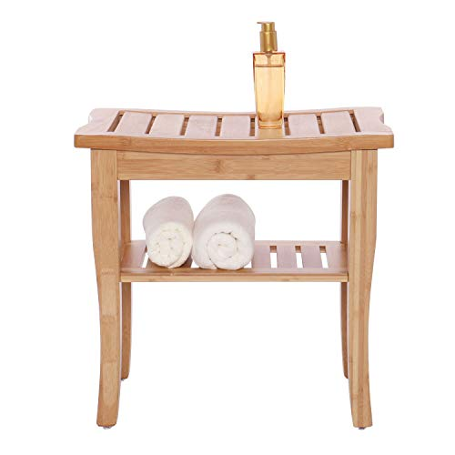 Bamboo Shower Seat Bench with Shelf - Wooden Bathroom Seat Stool Spa Chair (Stool Bathroom Small For Wooden)