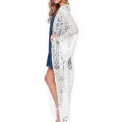 haoduoyi Women's Kimono Style Tassels Sleeved Lace Cardigan