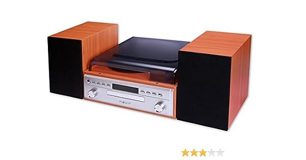 Nevir NVR-808VBUCS tocadisco - Tocadiscos (Tocadiscos de tracción por Correa, Negro, Marrón, 33,45,78 RPM, Giratorio, FM, MP3)