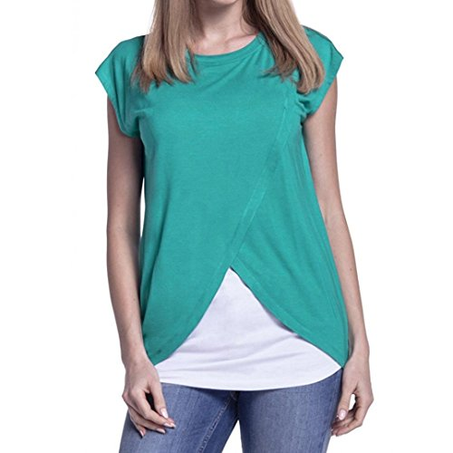 Lelili Women Maternity Nursing Wrap Top Short Sleeve Round Neck Cross Double Layer Blouse T Shirt (M, Green)