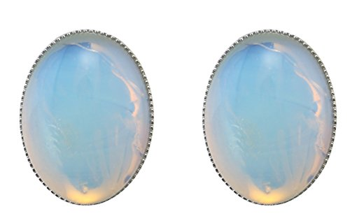 MagicYiMu Women's Jewelry Oval Simulated Opal Clip-On Earrings by MagicYiMu