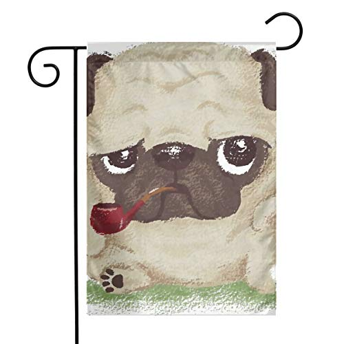 (Angels Fly Mouth Funny Ruffian Apricot Pug Cool Spring Family Unique Garden Flag Welcome America Courtyard Outdoor Decoration Logo Vertical)