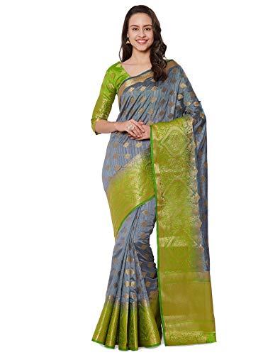 Viva N Diva Sarees for Women's Banarasi Kanchivaram Silk Grey Saree with Un-Stiched Blouse Piece,Free ()