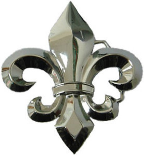 Fleur De Lis Belt Buckle French Lily Flower Costume Halloween Metal Fashion (Silver Plain) -