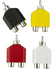 MERIGLARE 4X Male to Female Plug Adapter Cable RAC AV Connector