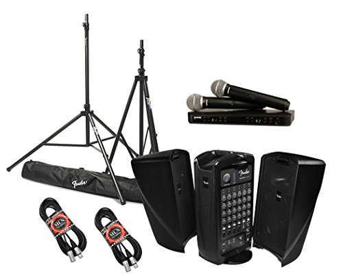 Fender Passport Event Portable PA System Bundle with Shure BLX288/PG58 Dual Wireless Handheld Microphone System and Accessories - Portable PA - System Sound Portable Fender