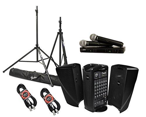 Fender Passport Event Portable PA System Bundle with Shure BLX288/PG58 Dual Wireless Handheld Microphone System and Accessories - Portable PA - System Portable Fender Sound