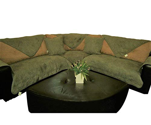 OctoRose Quilted Micro Suede Sage Green Sectional Sofa Cover Pad Sold by Piece Rather Than Set (SageGreen 35x94)