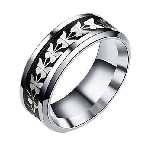 BEUU Butterfly Pattern Ring Women Men Bohemian Vintage Silver Stack Rings Above Knuckle (Black, 8)