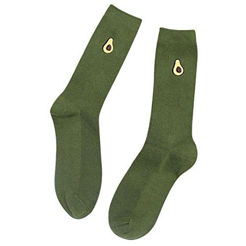 Floralby Women Girl Cartoon Fruit Embroidery Socks Warm Soft Elastic High Knitting Socks  Green