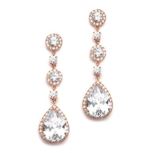 Mariell Cubic Zirconia 14K Rose Gold Pear-Shaped Teardrop Dangle Earrings - Brides, Weddings and Formals (Teardrop Dangle 14k Earrings)