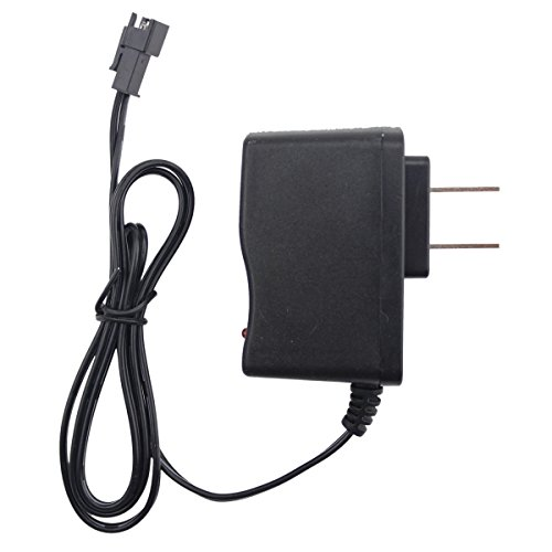 Fisca Charger Power Adapter AC 110-240V for Ni-Cd 4.8V AA Battery Pack SM Connector, for RC Rock Off-Road Car RC Dump Truck Bulldozer and RC Bus RC Toys