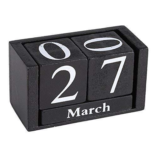 Fdit Vintage Wooden Cube Calendar Desktop Decor for Living Room Office (Black) (3.70 x 1.61 x 2.04inches) -