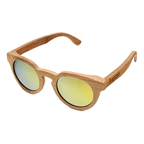 JapanX Bamboo Sunglasses & Wood Wooden Sunglasses for Men Women, Polarized Lenses Gift Box – Wooden Vintage Wayfarer Sunglasses - Bamboo Wood Wooden Frame – New Style Sunglasses (A6 - Demolition Bamboo Ranch Sunglasses