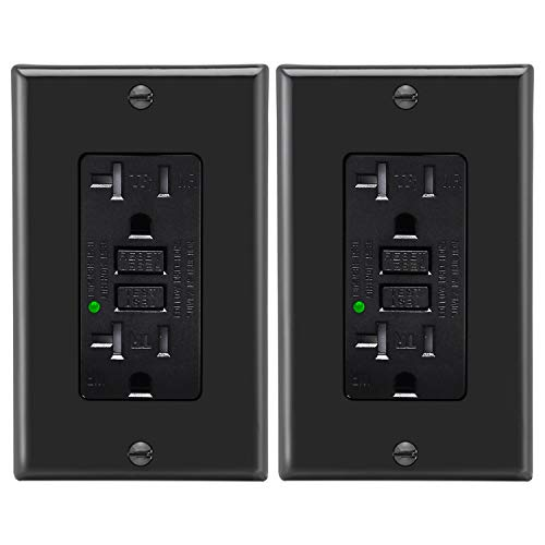 Gfi Gfci Outlet - [2 Pack] BESTTEN 20A Black GFCI Outlet, Tamper/Weather Resistant, Self Test GFI Receptacle with LED Indicator Light, Ground Fault Circuit Interrupter with Decor Wall Plate, ETL Certified