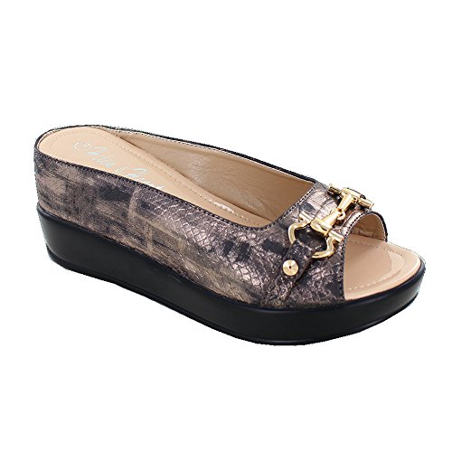 Women's Sparkle Golden Hint Snake Skin Textured Hidden Wedge Slide Sandal with Bit Top, 8127-40, Bronze, Size 8 by Helens Heart