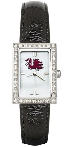 South Carolina Gamecocks USC NCAA Allure Ladies Watch With Black Leader Strap by Logo Art