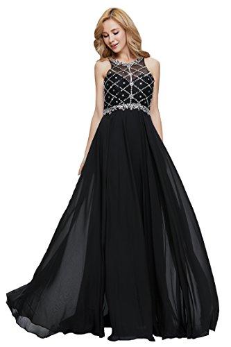Firose Women's Scoop Neckline Beaded Long Chiffon Prom Dresses For 2018 Black US14 (Halter Ruffled Evening Gown)