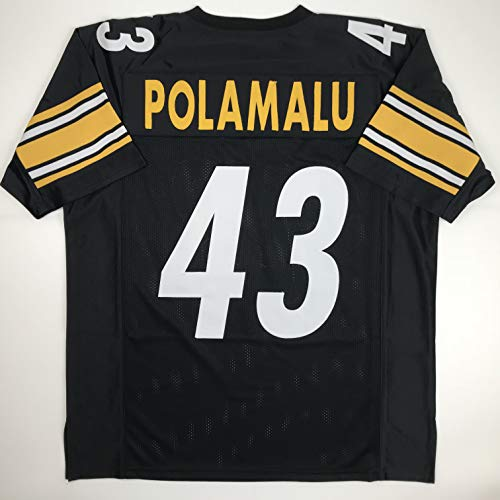 Troy Polamalu Signed Jersey - Unsigned Troy Polamalu Pittsburgh Black Custom Stitched Football Jersey Size Men's XL New No Brands/Logos