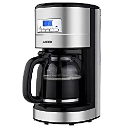 Aicok Coffee Maker , 12 Cups Programmable Coffee Maker with Timer, Coffee Pot, and Reusable Filter, Stainless Steel